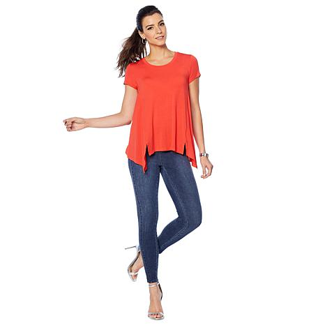 6711f4800 G by Giuliana Fit and Flare Tee with Seaming - 8860330