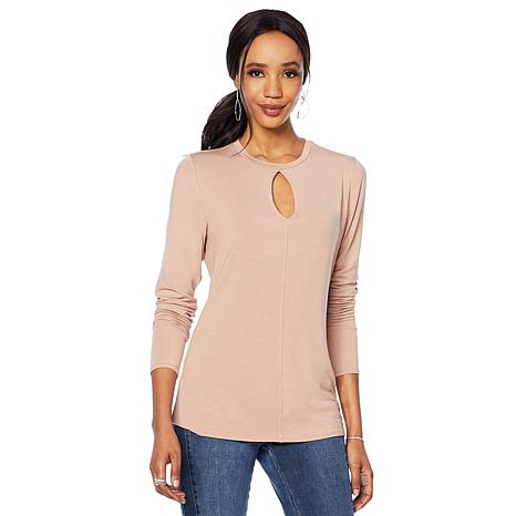 G by Giuliana Long-Sleeve Top with Keyhole Neckline