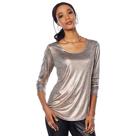 G by Giuliana Metallic Long-Sleeve Top