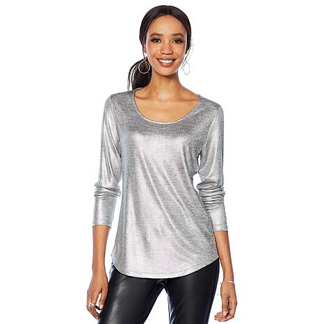 G by Giuliana Metallic Long-Sleeve Top