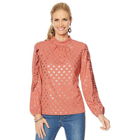 G by Giuliana Stretch Crepe Mock-Neck Top with Ruffle Sleeve