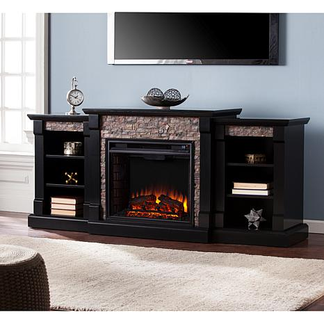 Southern Enterprises Gallatin Faux Stone Electric Fireplace With Bookcases Bl 8225167 Hsn