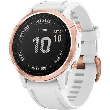 Garmin Fenix 6S Pro GPS Watch in Rose Gold Tone with White Band