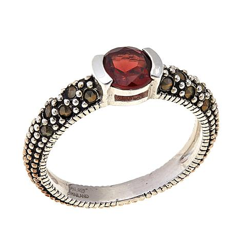 Garnet & Gray Marcasite Sterling Silver Ring - January