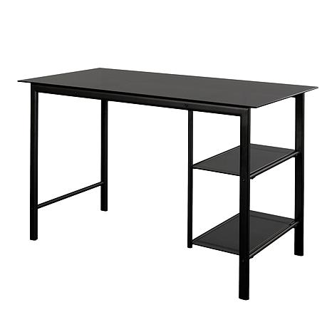 Garry Contemporary Metal & Glass Desk-Black/Smoky Glass