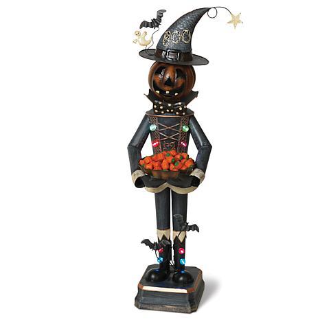 Gerson 3-Ft. Tall Lighted Metal Mr. Pumpkin Candy Bowl Holder