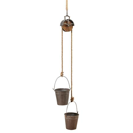 """Gerson 44.5"""" Hanging Metal Planter with Rope Pulley Mechanism"""