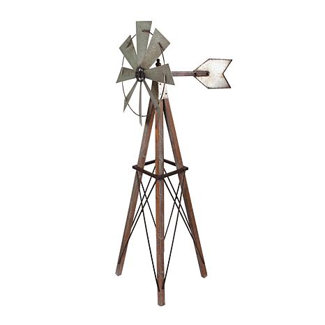 """Gerson 59"""" Metal and Wood Spinning Yard Windmill"""