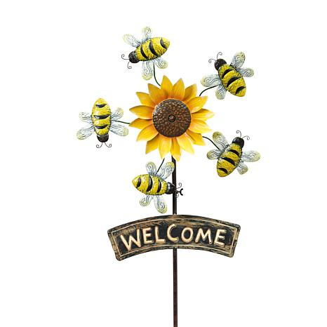 """Gerson 63""""H Metal Sunflower Yard Stake with Wind Spinner Bees"""