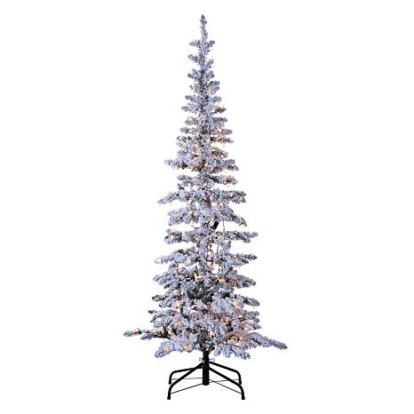 Gerson 6.5' Lighted Narrow Flocked Austin Pine Tree