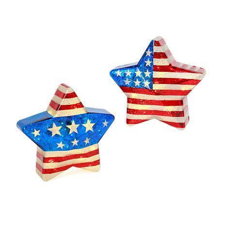 Gerson Battery-Operated Mercury Glass Americana Stars w/Timer 2-pack