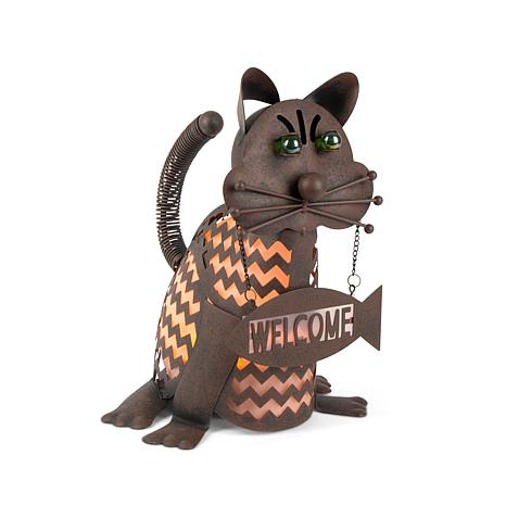 """Gerson Company 12.85"""" Solar Lighted Garden Meadow Welcome Cat"""