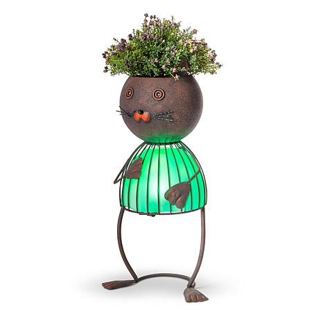 "Gerson Company 20.87"" Solar Lighted Garden Meadow Cat Pot Head"