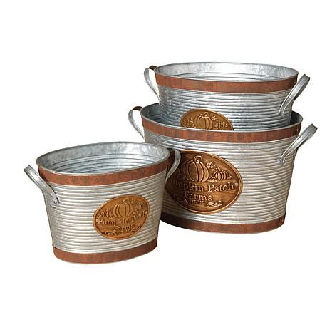 Gerson Company Set of 3 Galvanized Metal Buckets
