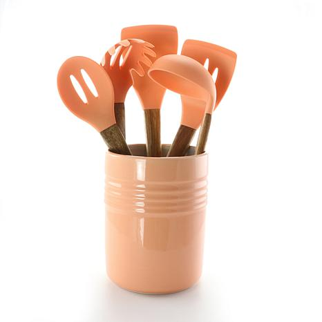 Gibson Coffee House 5-piece Kitchen Tools with Ceramic Crock in Coral