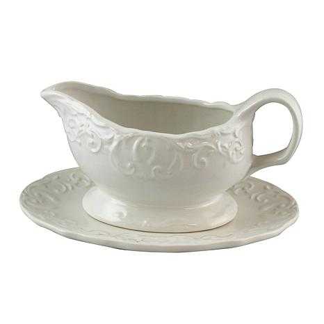 Gibson Home Elite Circle 18 oz. Embossed Gravy Boat with Saucer