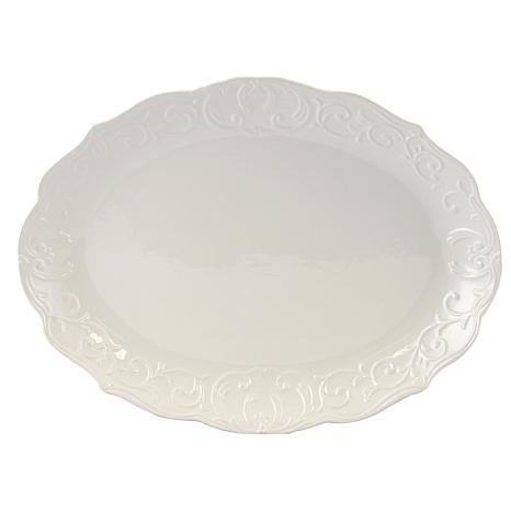 Gibson Home Elite Circle Oval Embossed Durastone Platter in White