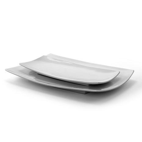 Gibson Home Elite Splendid Grace 2-piece Serving Platter Set in White