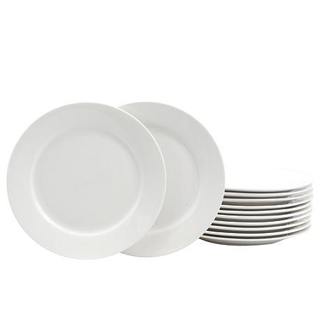 "Gibson Home Finer Details 12-piece 7.5"" Dessert Plate Set in White"
