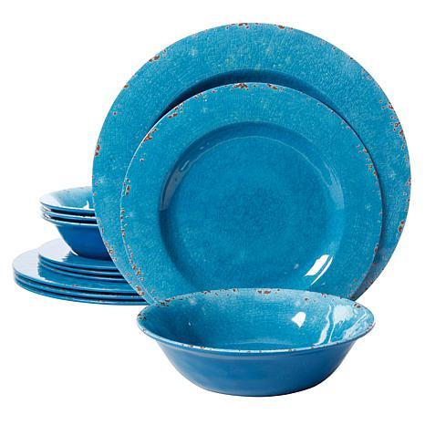 Gibson Home Meilee 12-piece Melamine Dinnerware Set in Blue Crackle