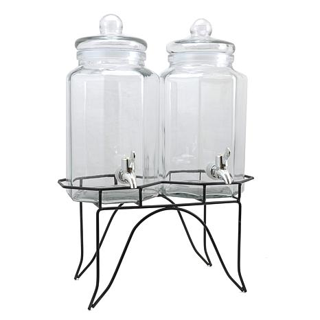 Gibson Home Party Duo Twin 1 Gallon Glass Beverage Dispenser with W...