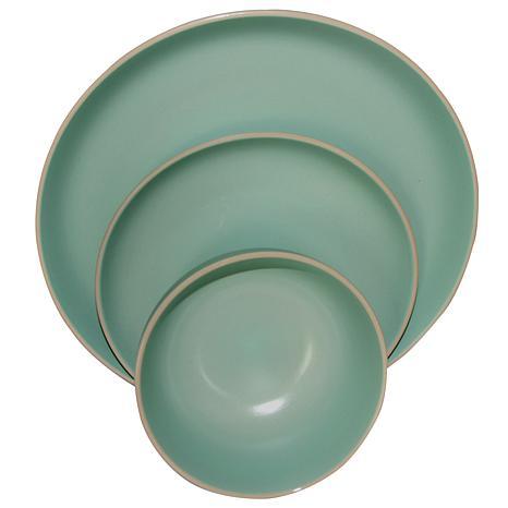 Gibson Home Stone & Steel 12pc Stoneware Dinnerware Set in Matte Teal