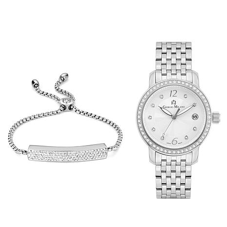 Giorgio Milano Crystal-Accented Watch and Bracelet Set