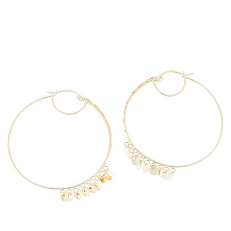 Gold Expressions 10K Gold Disc Dangle Hoop Earrings