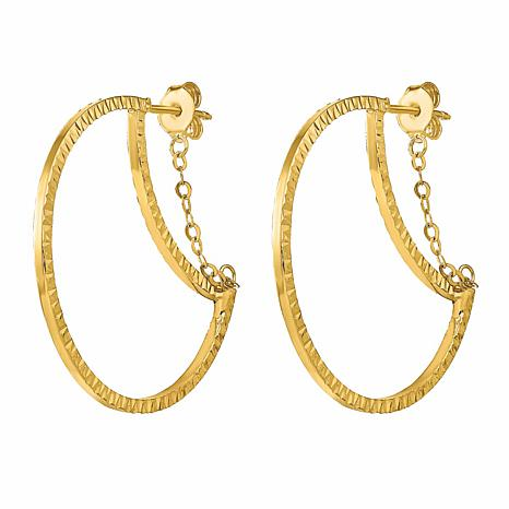 Golden Treasures 14K Gold Diamond-Cut Textured Hoop and Chain Earrings