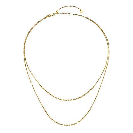 Golden Treasures 14K Gold Polished Multi-Strand Adjustable Necklace