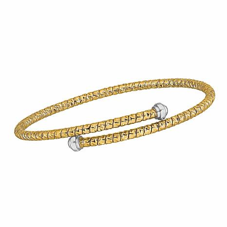 Golden Treasures 14K Gold Two-Tone Diamond-Cut Flexible Bangle