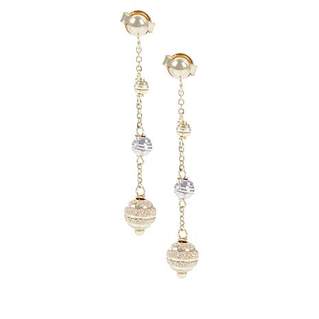 Golden Treasures 14K Italian Gold 2-Tone Beaded Dangle Earrings