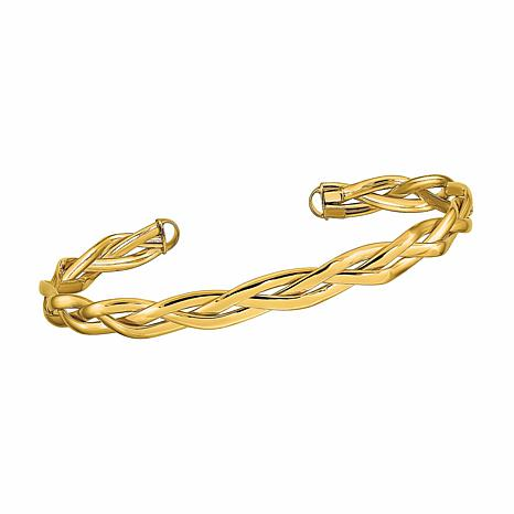 Golden Treasures 14K Italian Gold Braided Cuff Bracelet