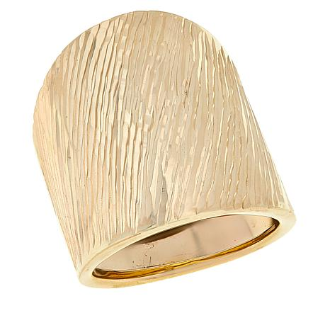 Golden Treasures 14K Italian Gold Diagonal Texture Bold Ring