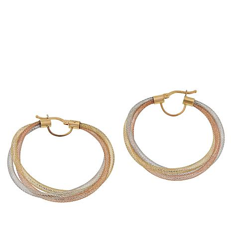 Golden Treasures 14K Italian Gold Woven Flexible Hoop Earrings