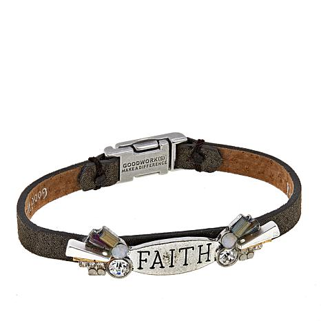 Good Work S Because Of Your Faith 7 1 4 Leather Bracelet
