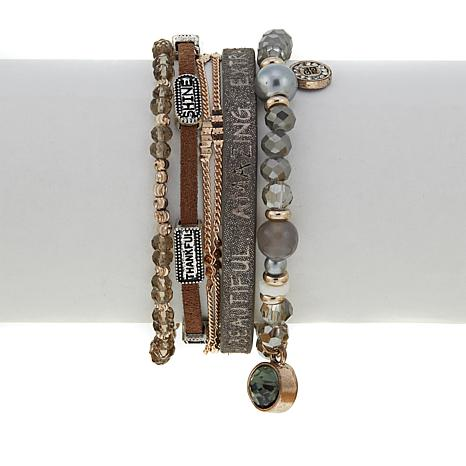 "Good Work(s) ""God Reminds Me"" Beaded Leather 5-Row Bracelet"