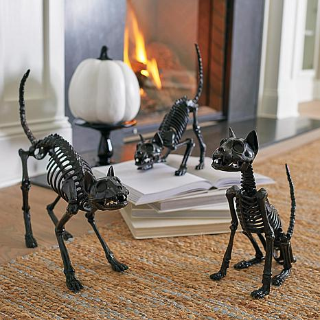 Grandin Road Set of 3 Skeleton Cat Figurines