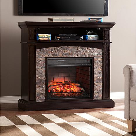 Grantham Simulated Stone Corner Infrared Electric Media Fireplace Ebony With 8225148 Hsn