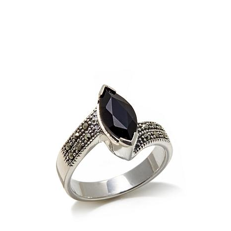 Gray Marcasite and Black Agate Marquise Sterling Ring