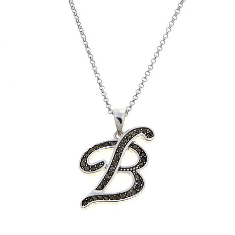 "Gray Marcasite Sterling Silver ""B"" Initial Pendant"