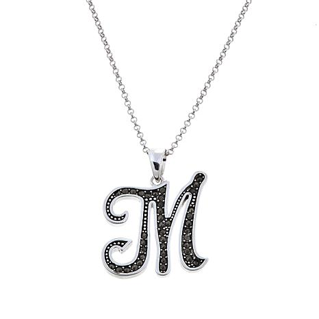 "Gray Marcasite Sterling Silver ""M"" Initial Pendant"