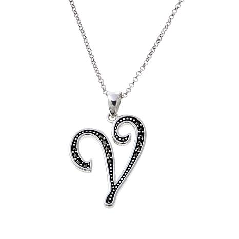 Gray marcasite sterling silver v initial pendant with 18 chain gray marcasite sterling silver v initial pendant aloadofball Image collections