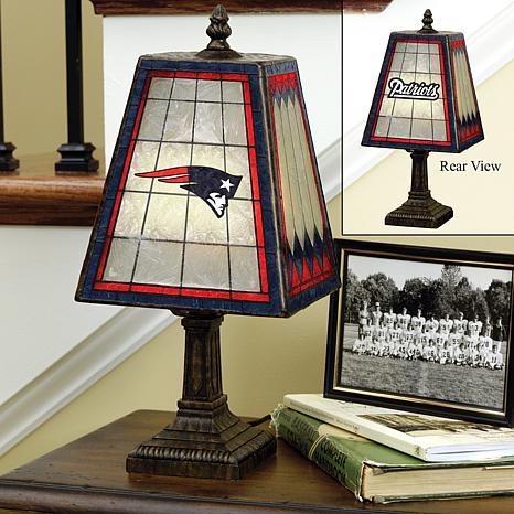 Handpainted Art Glass Team Lamp - New England Patriots