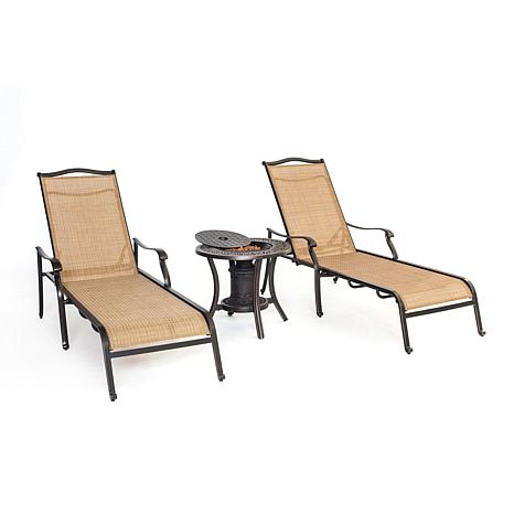 Hanover Monaco 3-Piece Lounge Set with Fire Urn Table