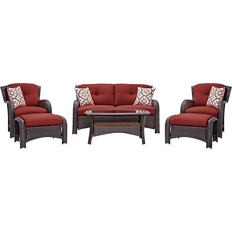 Hanover Strathmere 6-Piece Lounge Set - Crimson Red