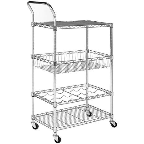 happimess Chelsea 3-Shelf Adjustable Kitchen Cart with Wine Storage