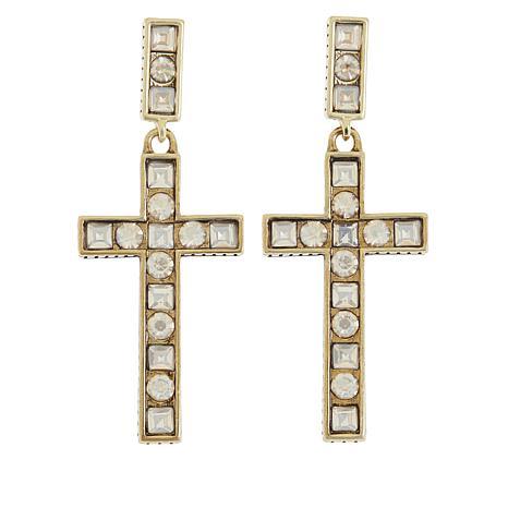 """Heidi Daus """"Delicate Divinity"""" Cross Drop Earrings"""