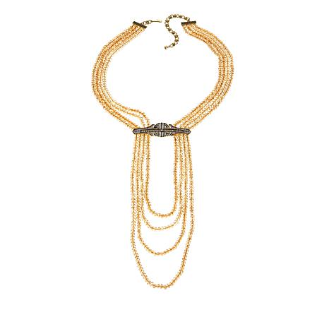"Heidi Daus ""Denim and Deco"" Beaded Draped Necklace"