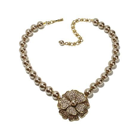 Heidi Daus Dogwood Flower Crystal Drop Necklace